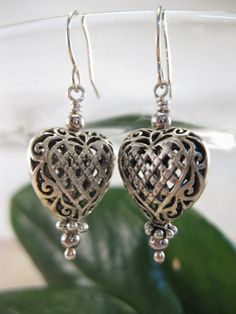 Bali sterling silver filigree design puff heart by BelhavenStudios, $20.00