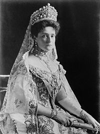 Alexandra Feodorovna, also known as Alix of Hesse, and Alexandra, the last Tsarina of Russia, wearing her large crown.  She and her family were executed on July 17, 1918.  She was a granddaughter of Queen Victoria.