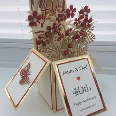 40th Wedding Anniversary pop up box card