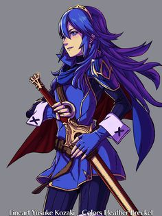 I colored the Lucina from the cover of the Fire Emblem 25th Anniversary book! Whether or not I do the rest of the characters will depend if I feel like scanning them haha it was a huge pain to scan from that huge book so we'll see. I wasn't certain it was Kozaki that drew Lucina on the cover, but it looked like his style.