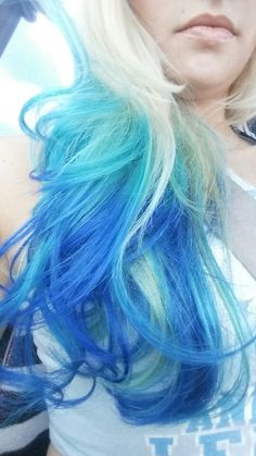 Platinum with fish bowl and electric blue ombre streaks! Way fun!