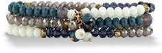 Seta Jewelry Blue And Grey Faceted 14k Gold-plated Beaded Triple-strand Stretch Bracelet Set 8 Inches.