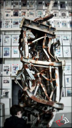 9/11 Memorial. Mangled antenna from atop the old One World Trade Center building.