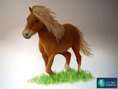 Muurschildering van een pony