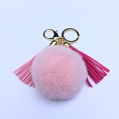 19.99$  Buy here - http://viomu.justgood.pw/vig/item.php?t=tnlrcp51286 - Fur pom pom keychain bag, purse pendant charm in light pink with two 3.5 inch le 19.99$