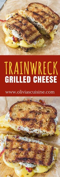 Trainwreck Grilled Cheese / Gouda cheese, caramelized onions and Maple Whiskey bacon join forces to create the most amazing grilled cheese ever! (Sponsored by Arla Dofino) Soup And Sandwich, Sandwich Recipes, Grilled Sandwich Ideas, Grill Sandwich, Tacos, Little Lunch, Snacks Für Party, Wrap Sandwiches, Steak Sandwiches