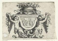 Nicolas Pierre Loir | Twee vrouwelijke bovenlichamen naast paneel, Nicolas Pierre Loir, after c. 1679 - before 1716 | Op het paneel staat een offerscène. Blad 12 uit serie van 12, tweede editie.