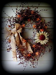 fall wreath, burlap and berries