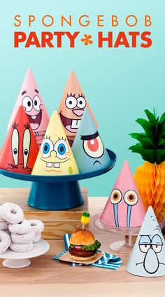 These free printable party hats feature SpongeBob, Patrick, and other Bikini Bottom dwellers!  SpongeBob, Patrick, Sandy, Mr. Krabs, Plankton, Gary, and Squidward will all be sitting pretty on your guests' heads. Let kids choose to wear their favorite Bikini-Bottom-ite while settling down to krabby patties and cake!