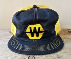15d2e342862f2 Details about Vintage K Brand Trucker Hat Cap Mesh Patch Union Gas Blue  Yellow Canada Made