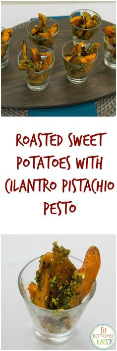 You SO wanna try this roasted sweet potatoes with cilantro pistachio pesto recipe this weekend.