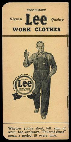 Old Lee Jeans Overalls Work Clothes Pocket Ledger