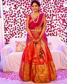 Lehenga Saree Design, Half Saree Lehenga, Pattu Saree Blouse Designs, Half Saree Designs, Lehnga Dress, Lehenga Designs, Bridal Sarees South Indian, Bridal Silk Saree, Half Saree Function