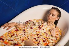 flowers in bath with naked women - Google Search