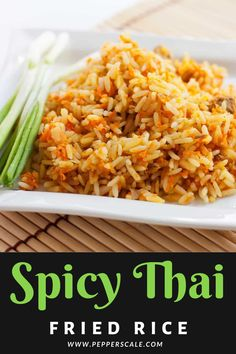 This spicy Thai fried rice recipe is delicious as a side to most any Thai meal, but it's hearty enough to eat as a meal in its own right. We use steak here, but you can sub in shrimp just as easily. #spicythaifriedricerecipe #spicythairecipesfriedrice #spicythaifriedrice #thaifriedrice #spicyfriedrice #friedrice #friedricerecipe Spicy Recipes, Vegan Recipes Easy, Easy Dinner Recipes, Salad Recipes, Cooking Recipes, Cooking Stuff, Side Dishes For Bbq, Potato Side Dishes, Vegetable Side Dishes