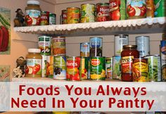 Here is a list of items that we keep stocked in our pantry virtually all the time. I plan meals around what I have in the pantry and I buy what is on sale to keep my pantry well stocked. Click here to see what you need in your pantry http://www.livingonadime.com/foods-you-need-pantry/