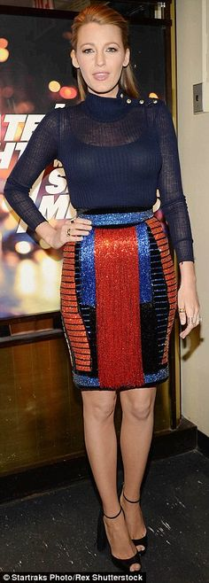 Sparkler: Blake Lively wore a sequined and beaded coat on Wednesday in New York City (L), after sporting a shimmering skirt to tape an appearance on Late Night With Seth Meyers the previous evening