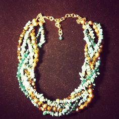 Chunky Necklace Turquoise and Gold by JackeeWillisJewelry on Etsy, $33.00