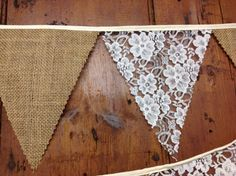 Burlap, Hessian and lace Wedding Bunting Banner 34ft 10mts 58 Flags a Rustic…