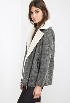 Faux Shearling Collar Moto Jacket