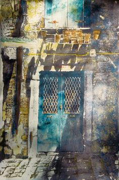 """blue door (6) venice  30"""" x 22' micheal zarowsky / watercolour on arches paper (private collection)"""