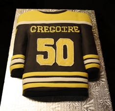 Boston Bruins Hockey Jersey Cake (Back) on Cake Central