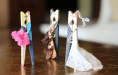 Lilyshop | Kissing Clothes Pin Couples - Paint the clothes pin and hot glue ribbon, lace, tissue or whatever you have to make the dress. These are great for gifts, decoration or personal use. Use for gift toppers, cupcake toppers, paper clips, shower party decor, etc. Or display on a desk, dresser, window sill, etc just to spread happiness!