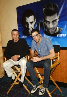 Leonard Nimoy and Zachary Quinto. Oh my god. Look at nimoy's little dress socks and slams and OH HOW CUTE