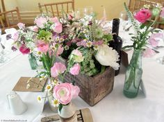 Wedding Table Centres, Table Centers, Antique Bottles, Florists, Garden Styles, Somerset, Bristol, Summer Wedding, Wedding Flowers