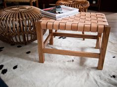 Woven leather stool