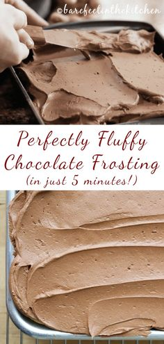 Creamy, Not-Too-Sweet, Absolutely Perfect Fluffy Chocolate Frosting is truly the best chocolate frosting I've ever tasted. Creamy, Not-Too-Sweet, Absolutely Perfect Fluffy Chocolate Frosting is truly the best chocolate frosting I've ever tasted. Homemade Frosting Recipes, Chocolate Frosting Recipes, Baking Recipes, Cake Recipes, Dessert Recipes, Cake Frosting Recipe, Best Chocolate Buttercream Frosting, Chocolate Icing For Cake, Homemade Chocolate Buttercream Frosting