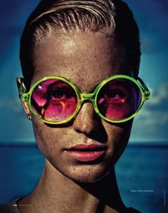 Photo of model Erin Heatherton wearing Cutler and Gross sunglasses from their S/S 2011 line by Enrique Badulescu for Elle Russia, July Found via C'est Vogue. I like her freckles Erin Heatherton, Ray Ban Sunglasses Sale, Cat Eye Sunglasses, Mirrored Sunglasses, Round Sunglasses, Sunglasses Outlet, Sunglasses 2016, Crazy Sunglasses, Holbrook Sunglasses