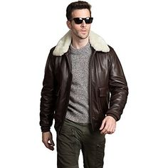 Alpha Industries Men's G-1 Leather Military Flight Jacket, Brown, Small at Amazon Men's Clothing store: Leather Outerwear Jackets