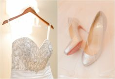 Crystal Wedding Gown & Silver Glitter Louboutin Shoes {Wedding Nature Photography} - mazelmoments.com