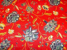 Vibrant Red Vintage Floral Print Fabric