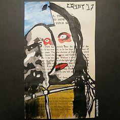 Satanic Bible page painting of Beautiful People era Marilyn Manson. Made using acrylic paints.