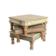 Scrapwood pata table small - Small wooden table based on the original 'Bajot' tables. These low tables are used in Indian houses as diner table, side table or to serve for example tea on. They are made from reclaimed wood, and are part of our scrapwood collection. All tables vary in colour. We honoured the traditional beautifully carved legs. You can use it as a side table, or place it on the dining table as a platform to serve food on, or decorate it with vases and candles. The…