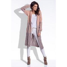 Cardigan de dama lung tricotat cu gluga apricot