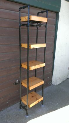 Tower Bookcase Made With Steel Pipe Frame And Solid Wood Shelves