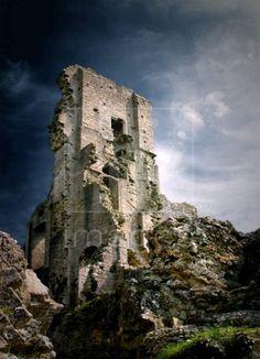 Corfe Castle ruins in Dorset, England