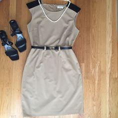 """Calvin Klein Dress Chic Calvin Klein dress.  Under arm to under arm 20"""". Waist 32"""". 7"""" below waist 42"""".  Very good condition.  Very smart looking. Calvin Klein Dresses Midi"""
