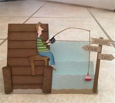 This cute card was made for the fisherman's birthday, using a side step pattern