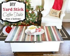 So cute! yard stick coffee table from Traci at Beneath my Heart!  #Wayfair challenge