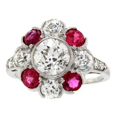 Art Deco Diamond and Ruby Ring  Platinum, diamonds, ruby     United States     c1920's