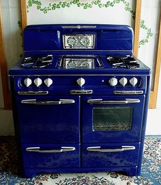 Love the color of this old cobalt blue antique stove!
