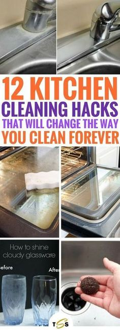 These 12 Kitchen Cleaning Hacks are THE BEST thing ever. So many useful and fantastic ways to clean your kitchen that actually work. I'm honestly stunned right now! Definitely going to be using these genius home hacks when I clean again. So easy and cheap, all ingredients are probably in your kitchen already!