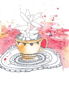 This is an absolutely stunning piece of art @Etsy - Teacup Cactus Watercolour Zentangle Art Drawing