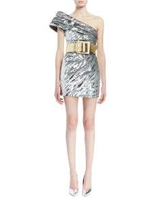 Wide+Metallic+Leather+Belt+&+One-Shoulder+Pleated+Metallic+Mini+Dress+by+Saint+Laurent+at+Bergdorf+Goodman.