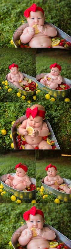 Fruit Bath Photoshoot with 6 Month Baby Girl This Baby Girls fruit bath photoshoot couldn't get any cuter! She definitely loved the strawberries and lemons, maybe next time we'll try a milk bath! Milk Bath Photos, Bath Pictures, Cute Baby Pictures, Newborn Pictures, Beautiful Pictures, Milk Bath Photography, Newborn Baby Photography, Fruit Photography, Photography Ideas