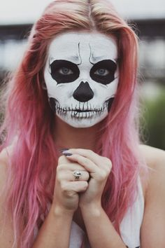 Tumblr Skull Face Painting Pretty,fashion,model,pink,hair,makeup - inspiring picture on picship